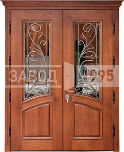 двустворчатые входные двери со стеклопакетом