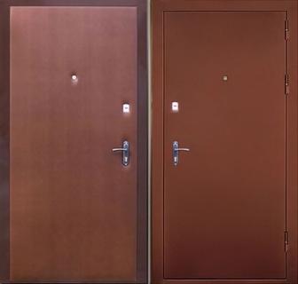 двустворчатые железные двери эконом класса